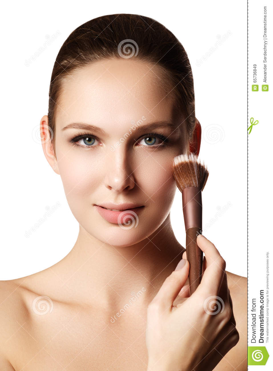 Beauty Girl With Makeup Brushes. Natural Make-up For