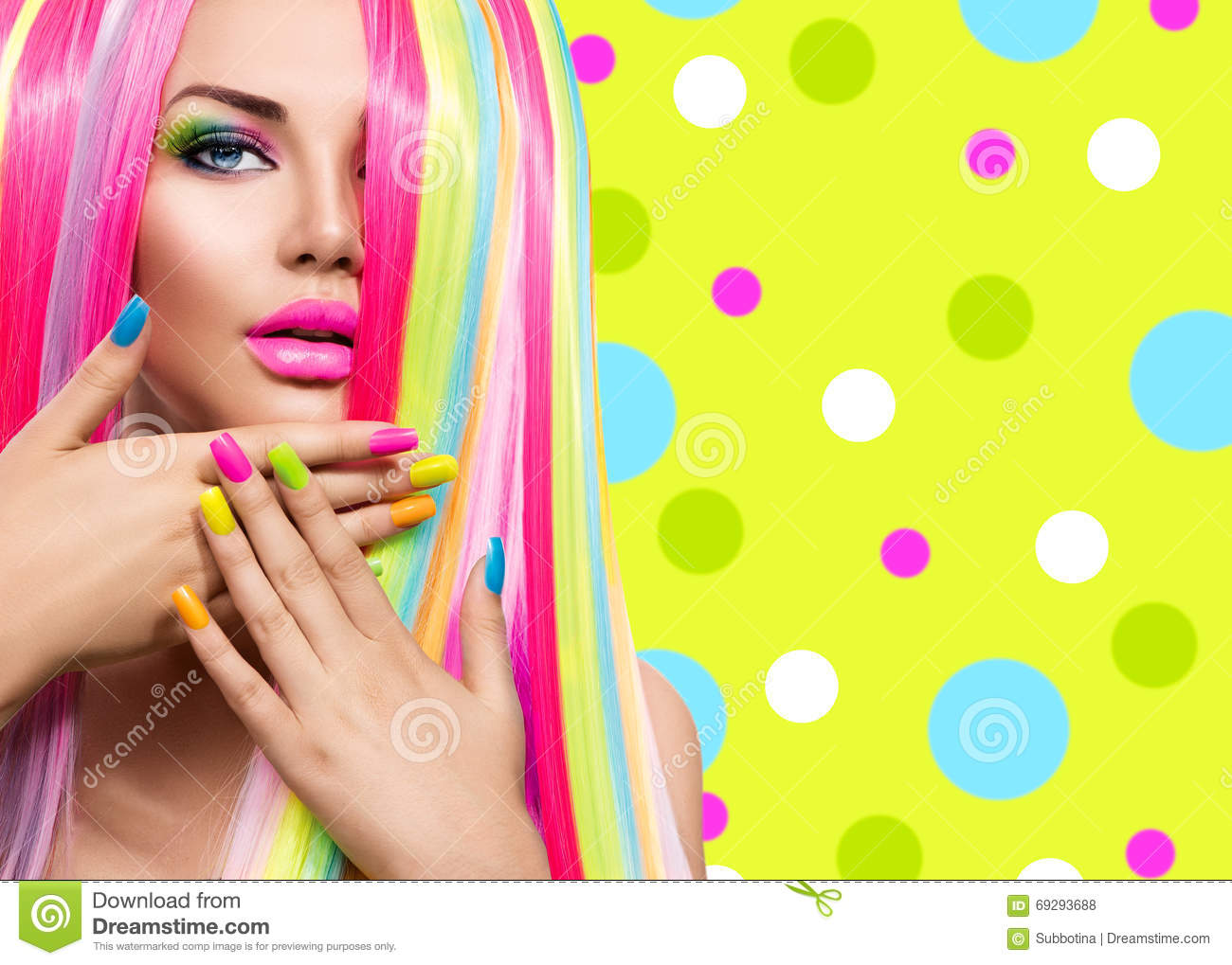 Beauty Girl Portrait With Colorful Nails Hair And Makeup
