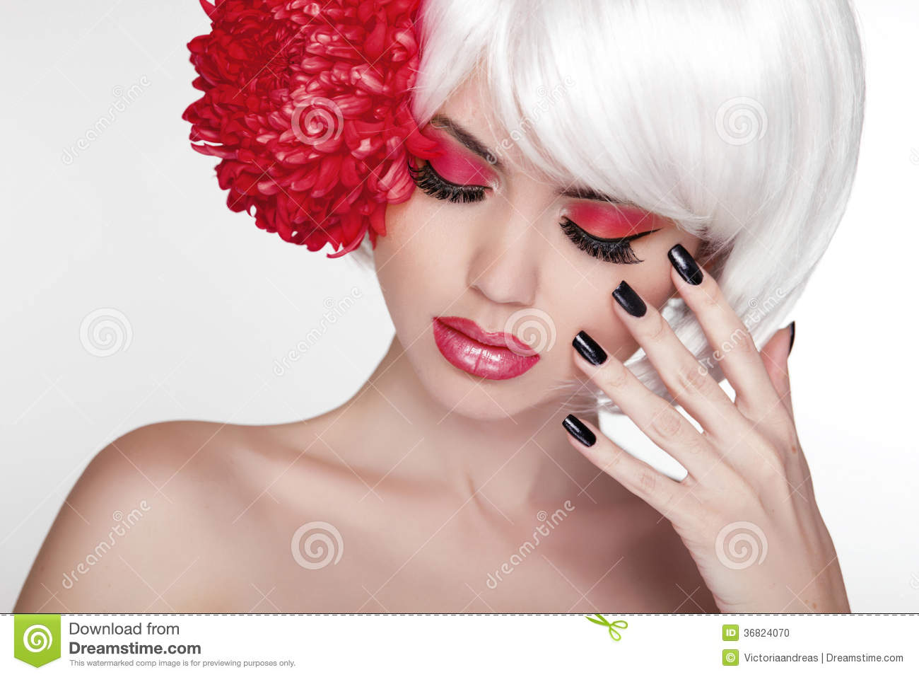 Beauty girl portrait with red flower beautiful spa woman for A perfect touch salon