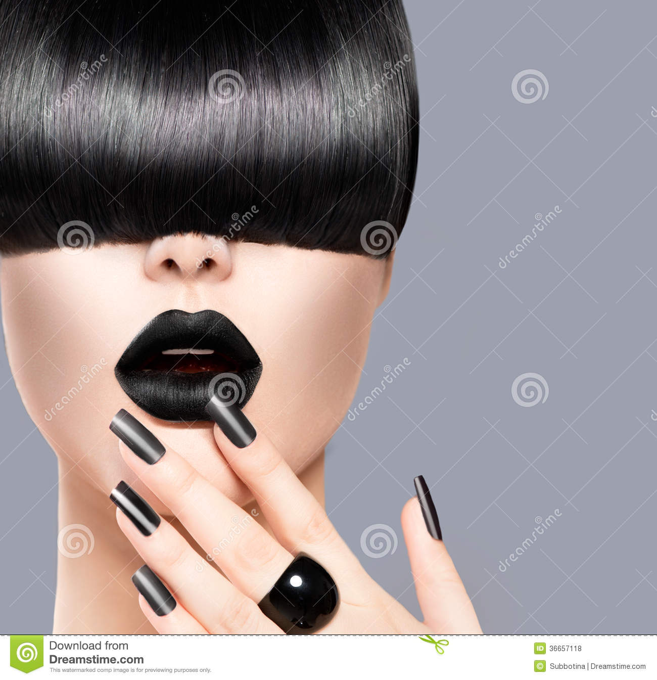 Fashion Girl. Black Lips And Nails Stock Photo - Image of beautiful ...