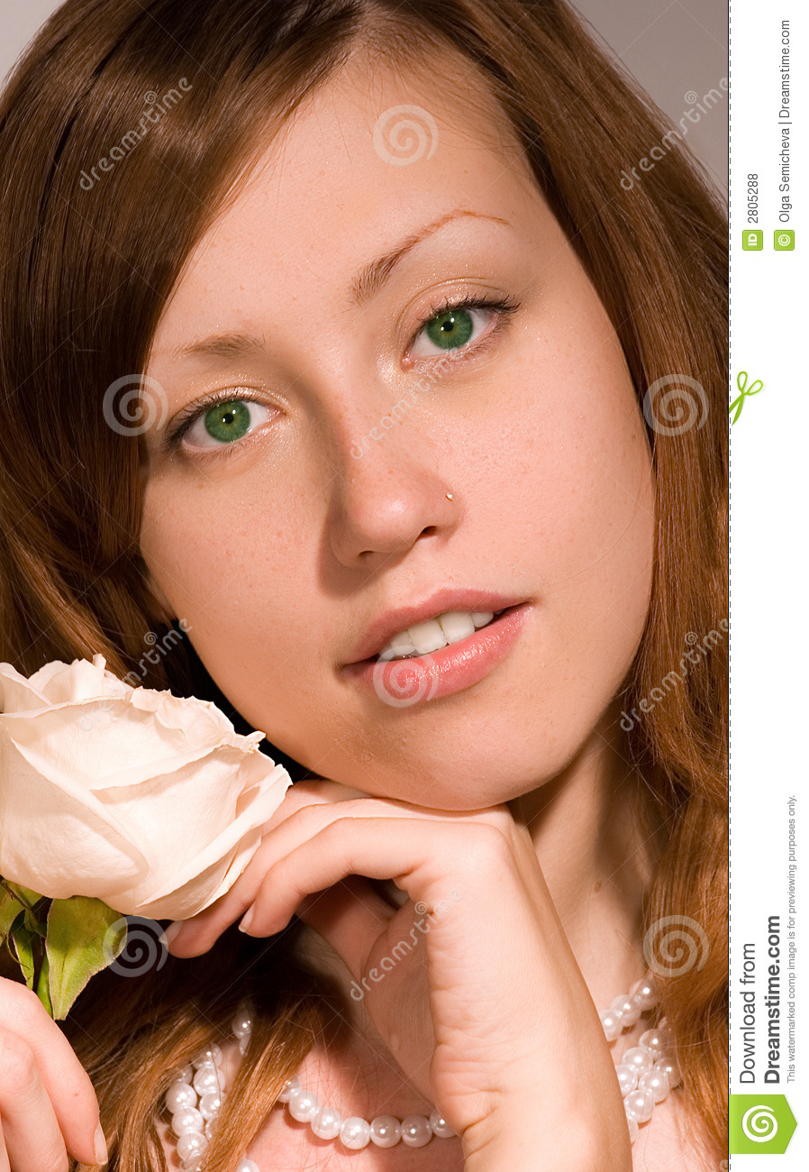 Beauty girl with rose.