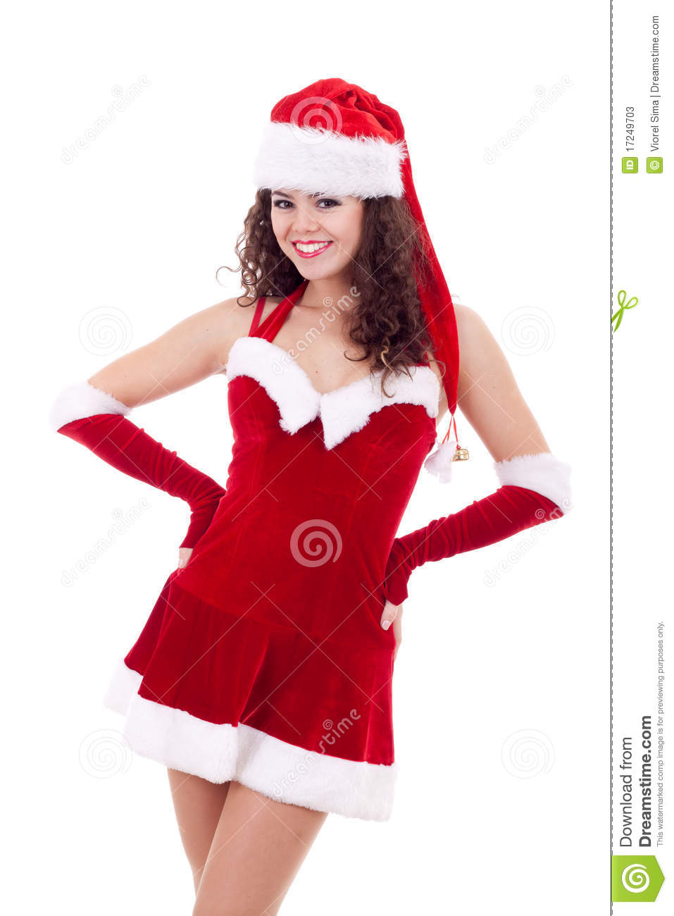 Beauty girl in santa costume stock photos image