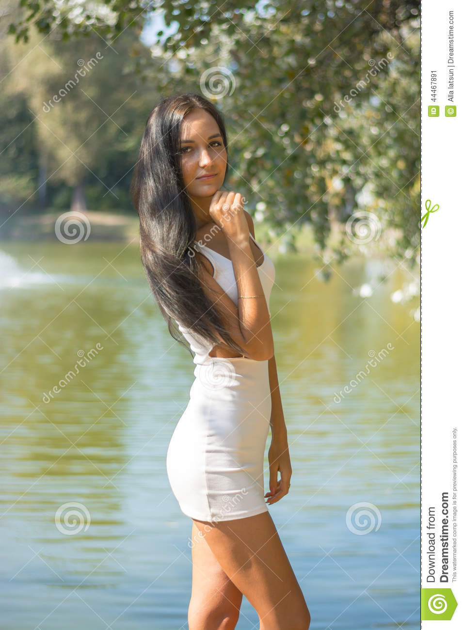 Beauty Girl In Short Dress On Nature Background Stock Image - Image Of Long, Health -6558