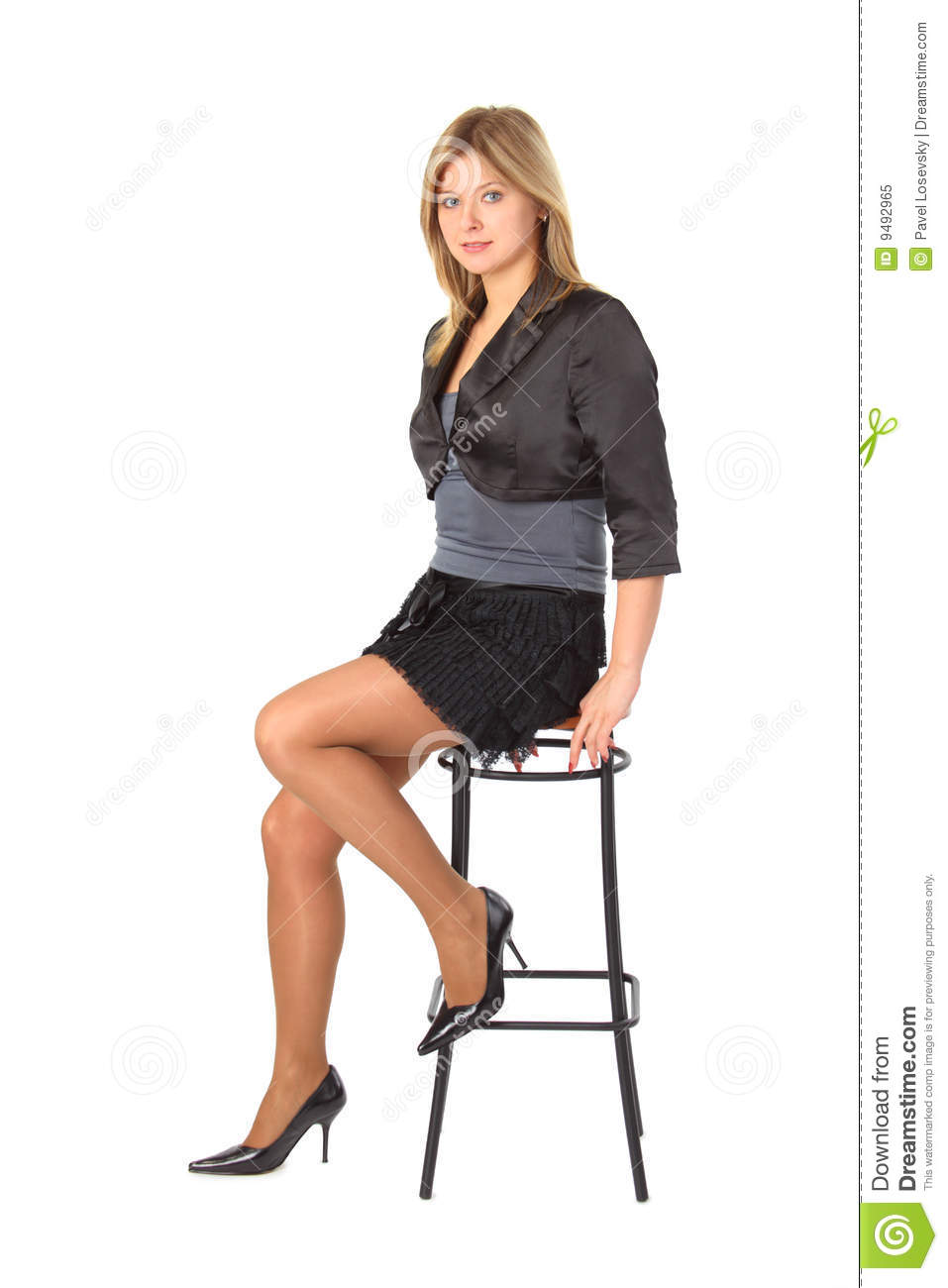 Theme, interesting Girl on bar stool