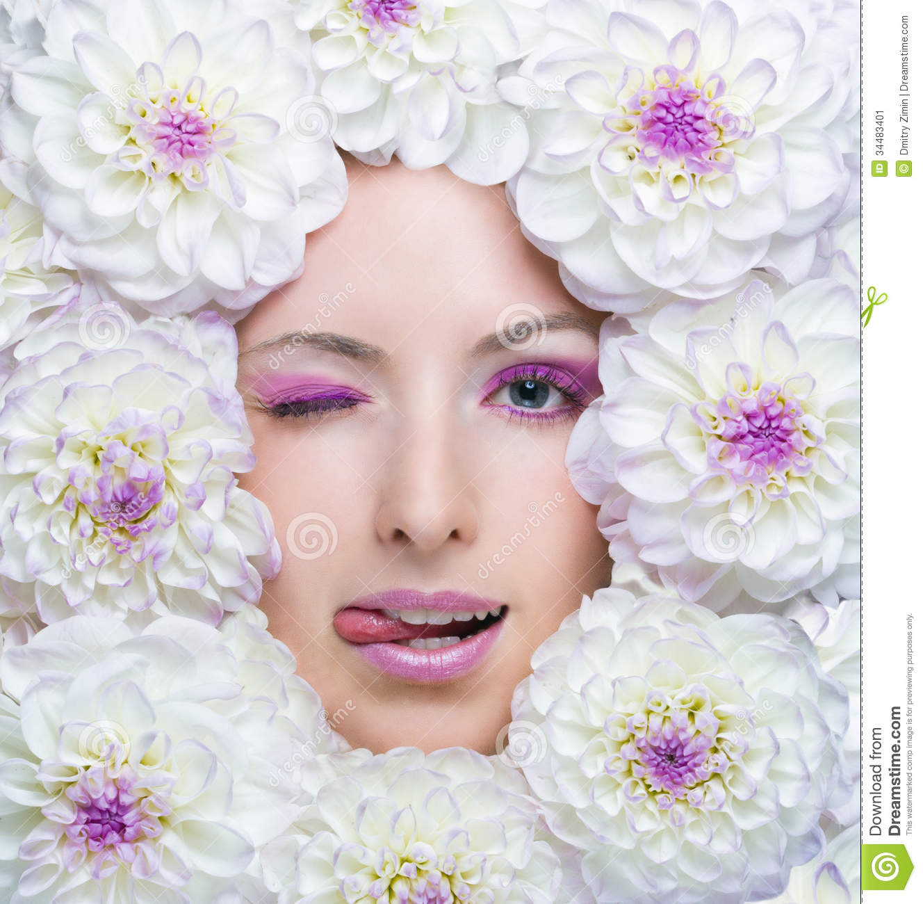 Beauty Girl With White Flowers Stock Image Image Of Emotions