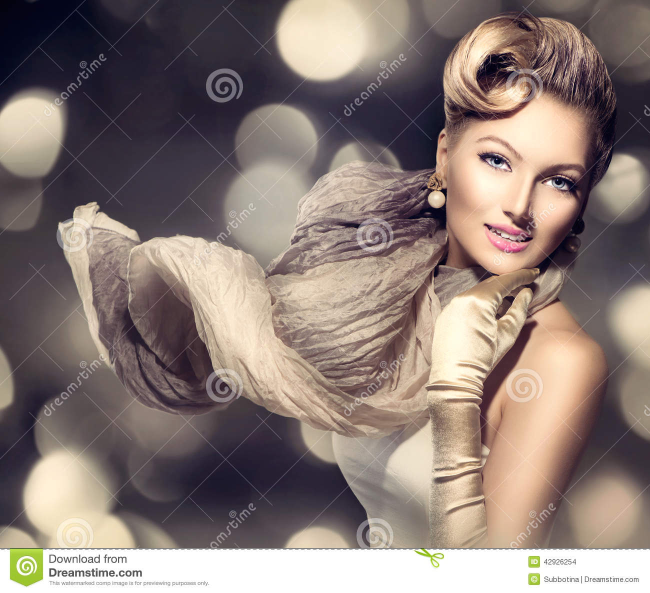 Beauty Glamour Lady with blowing scarf