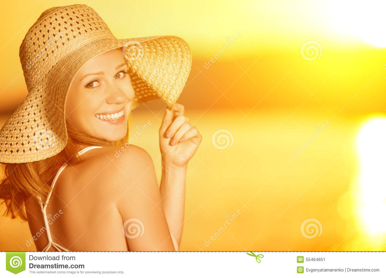 Download Beauty Happy Smiling Woman In Hat At Sea At Sunset On Beach Stock Image - Image of lifestyle, orange: 55464651