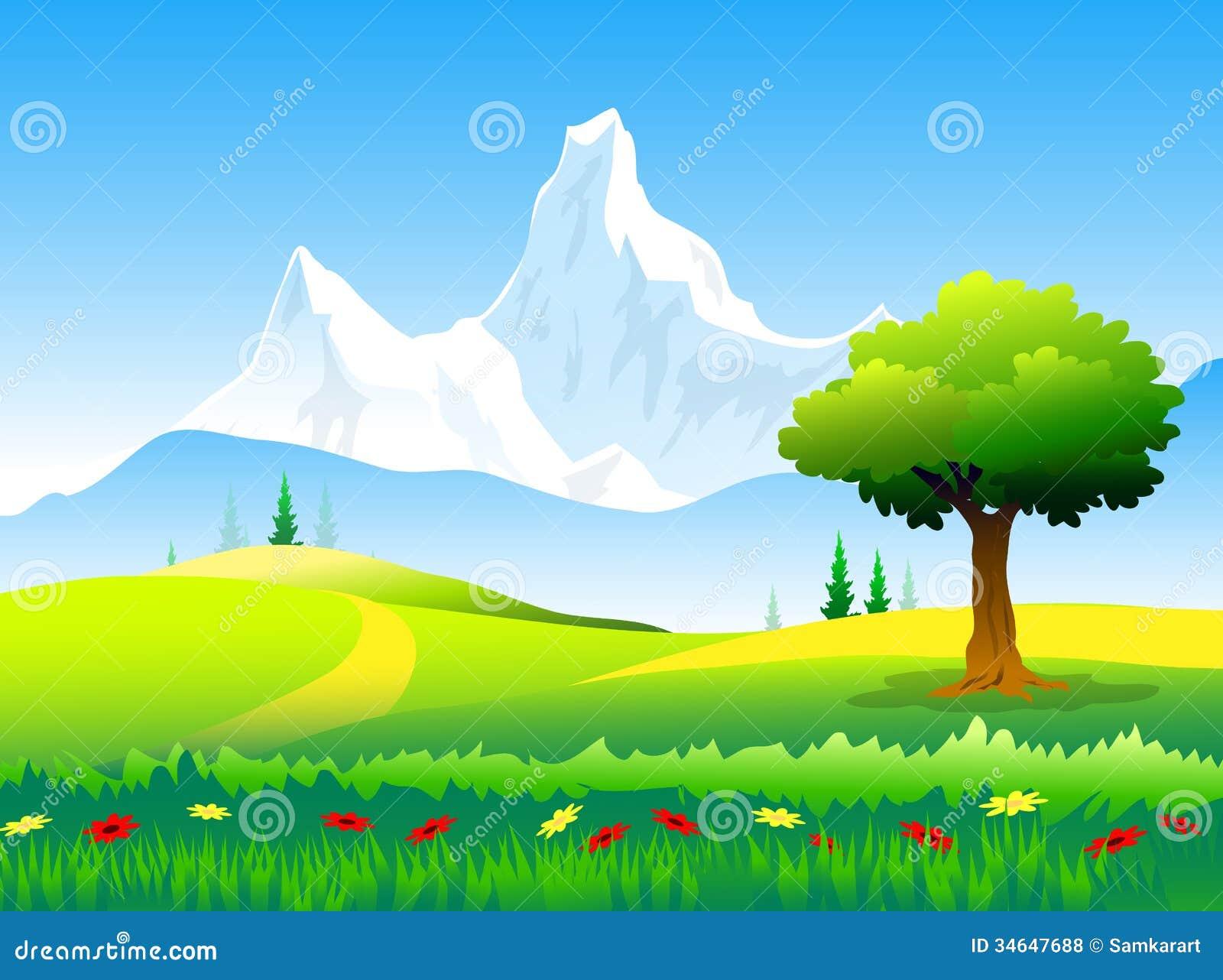 Landscape Illustration Vector Free: Beauty Of Himalayas Peaks & Landscape Stock Vector
