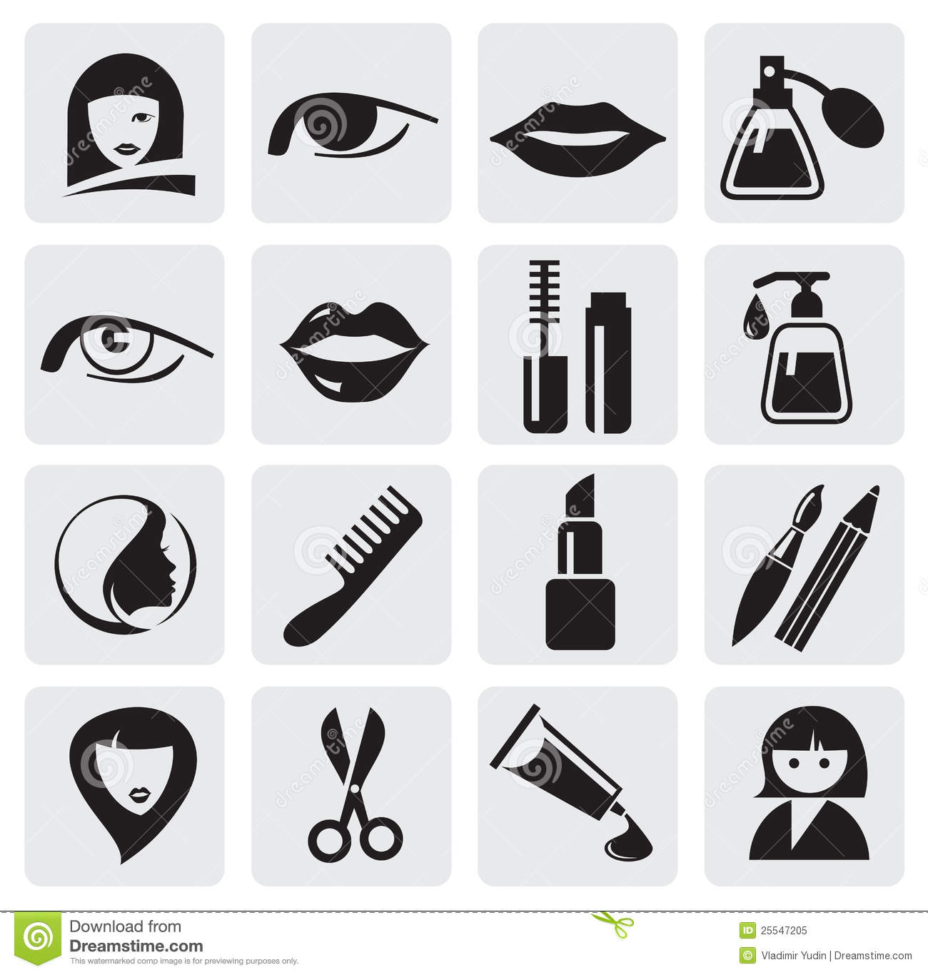 Beauty Icons Stock Vector Image Of Series Internet