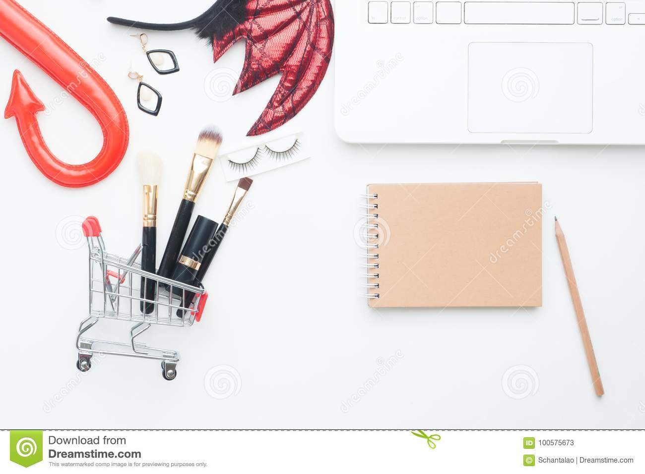 download beauty items in shopping cart with halloween costume laptop computer and notebook with copy