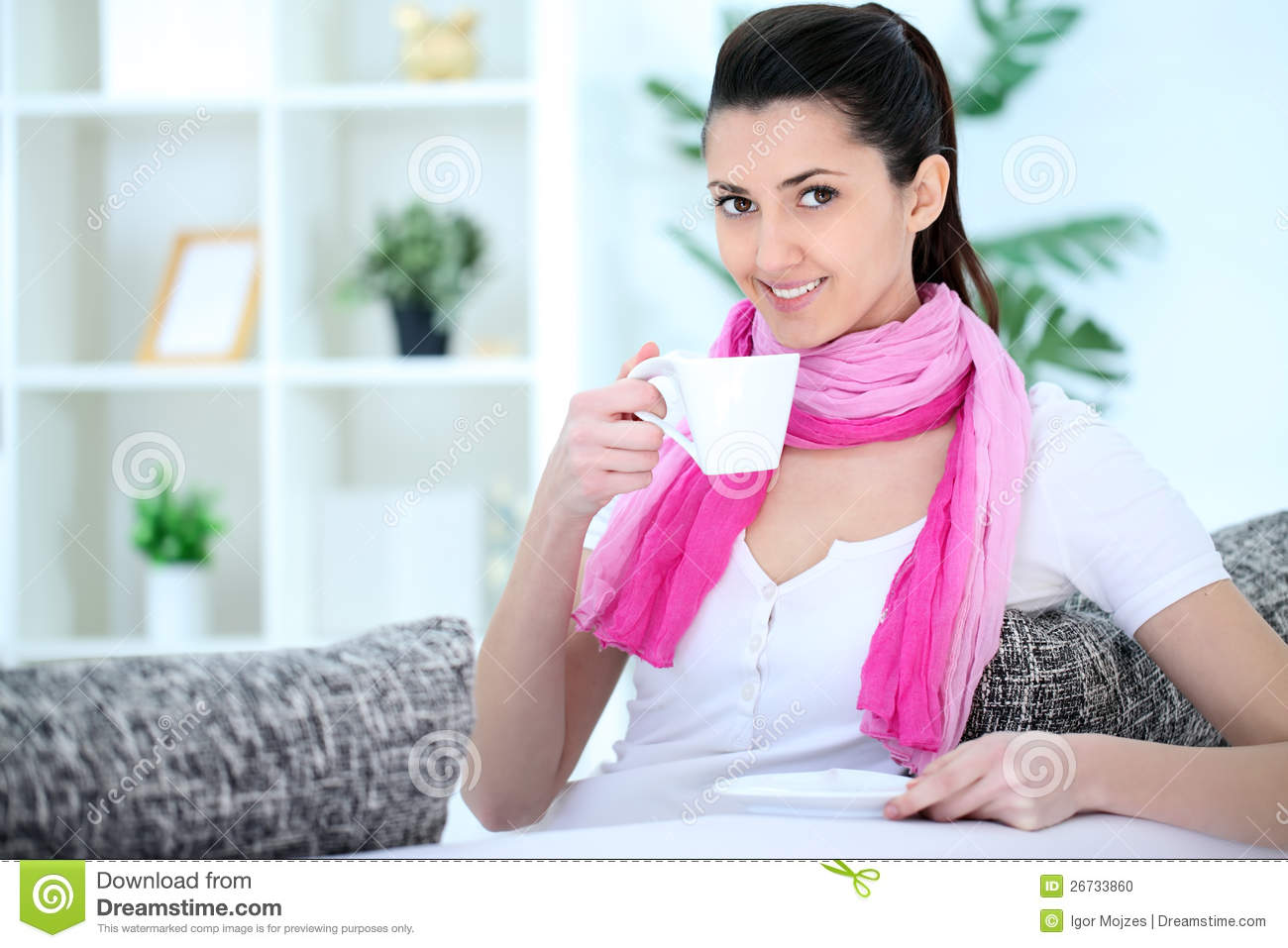Lady Drinking Coffee Home