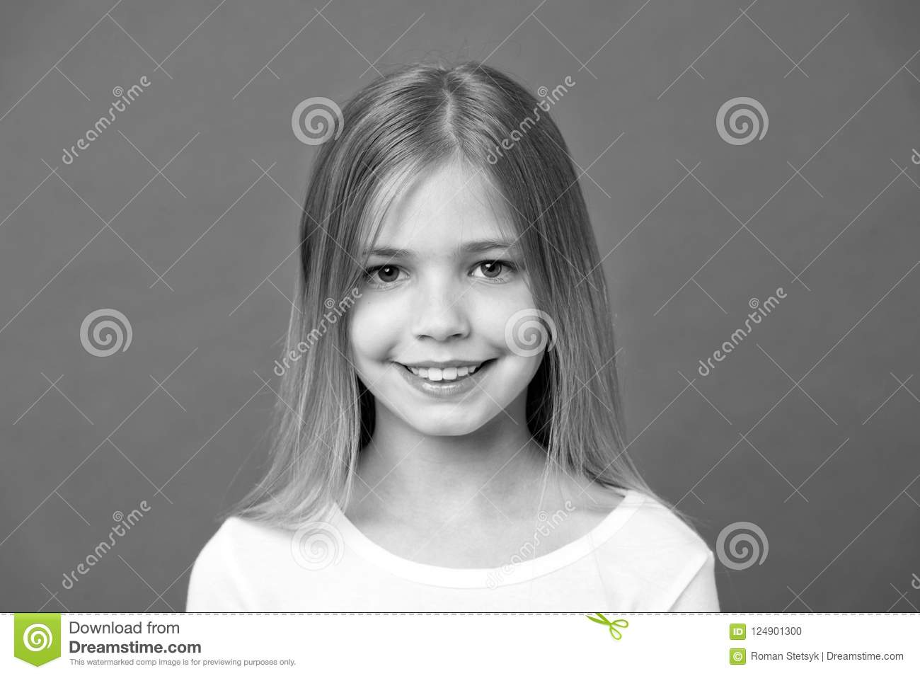 Beauty Look And Skincare  Little Girl Smile On Violet