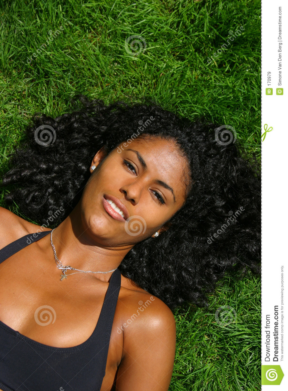Beauty lying on the grass