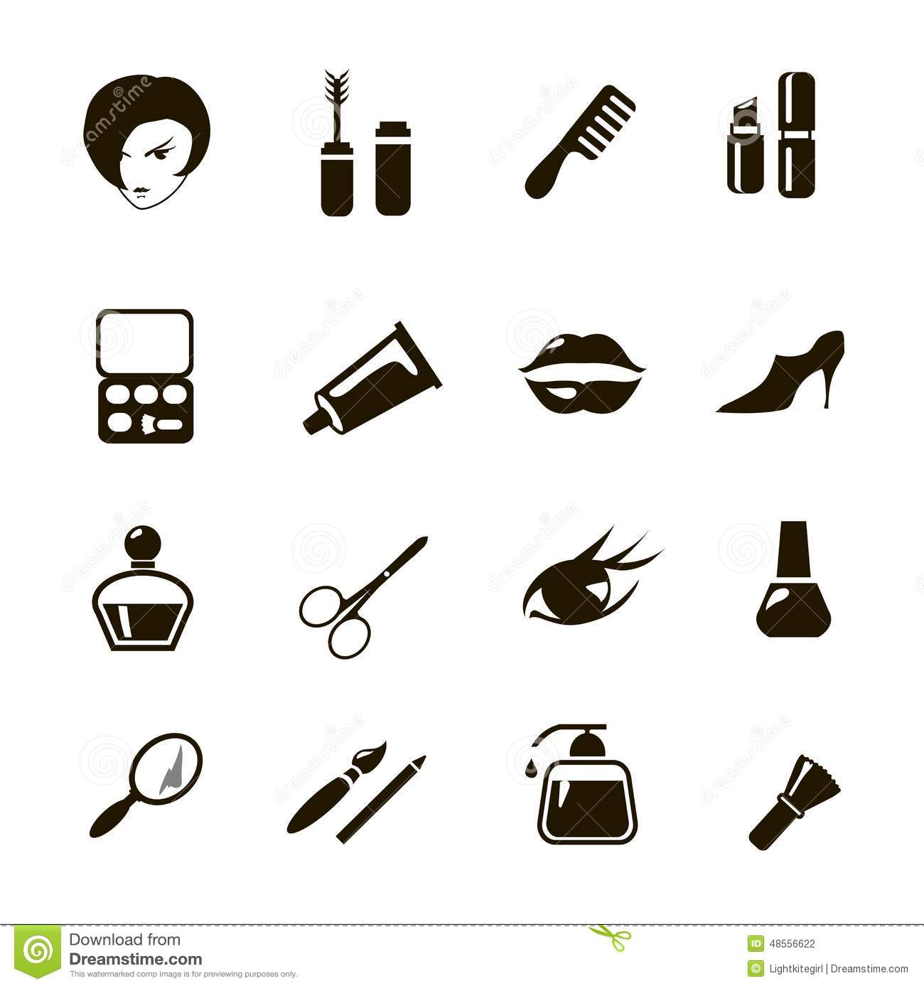 beauty and make up vector black icons stock vector
