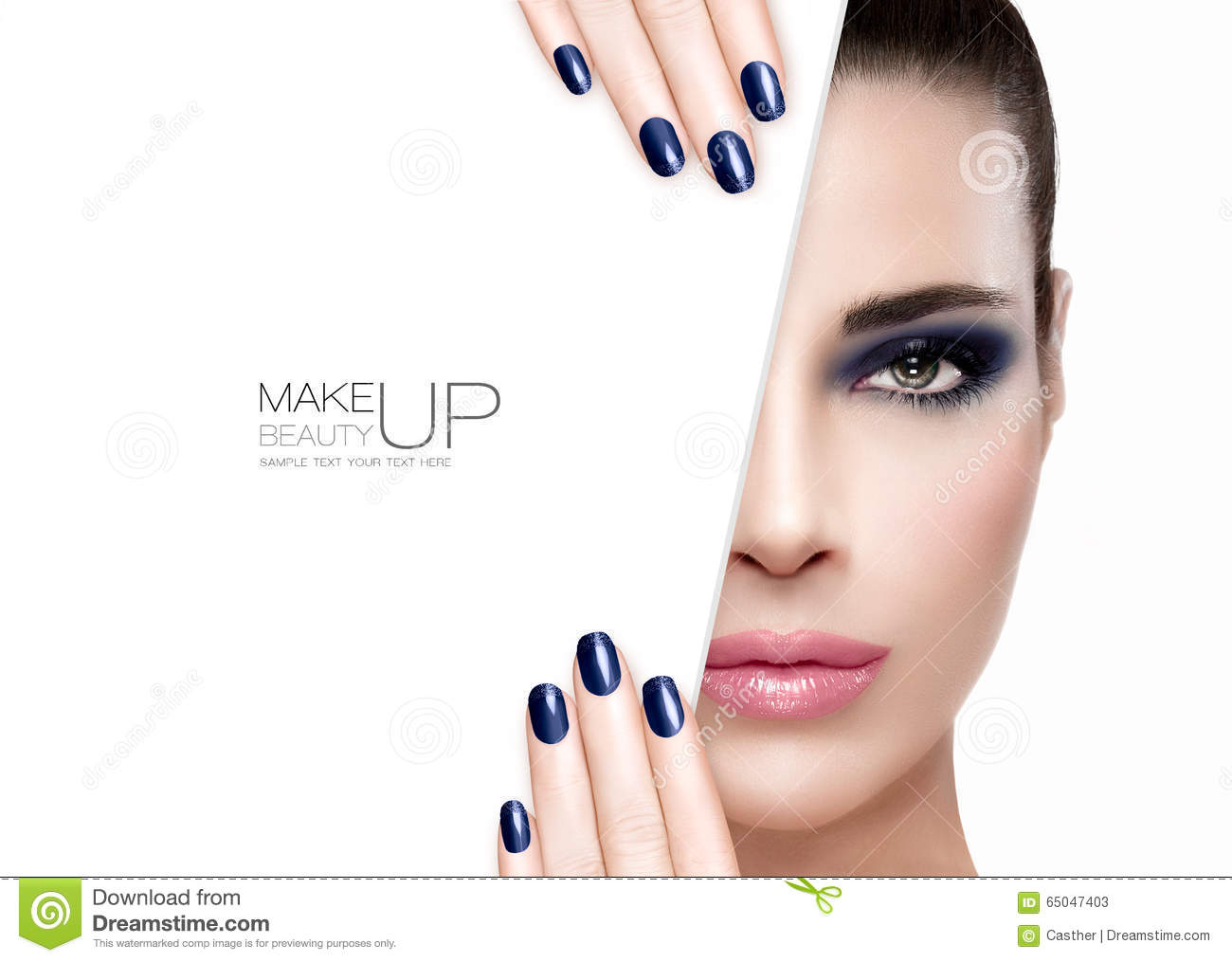 Beauty And Makeup Concept. Blue Nail Art And Make-up Stock ...