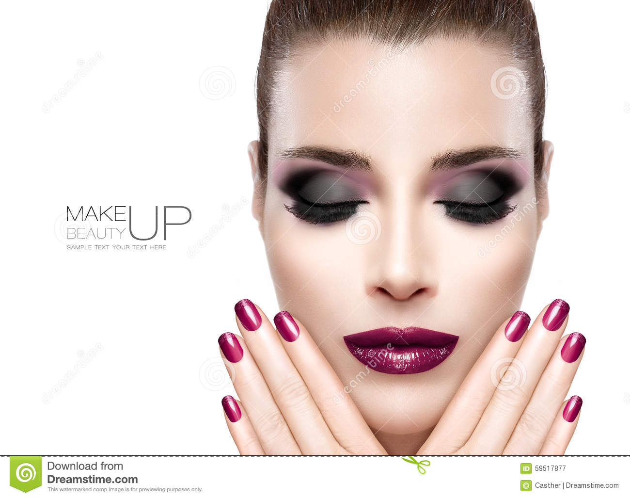 Beauty And Makeup Concept. Festive Nail Art And Make-up