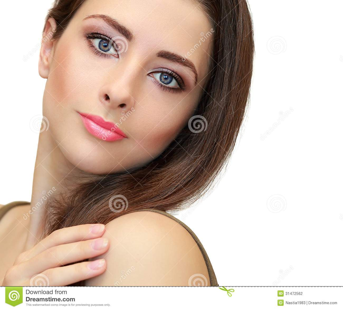Beauty makeup female face looking. Closeup isolated portrait on white ...