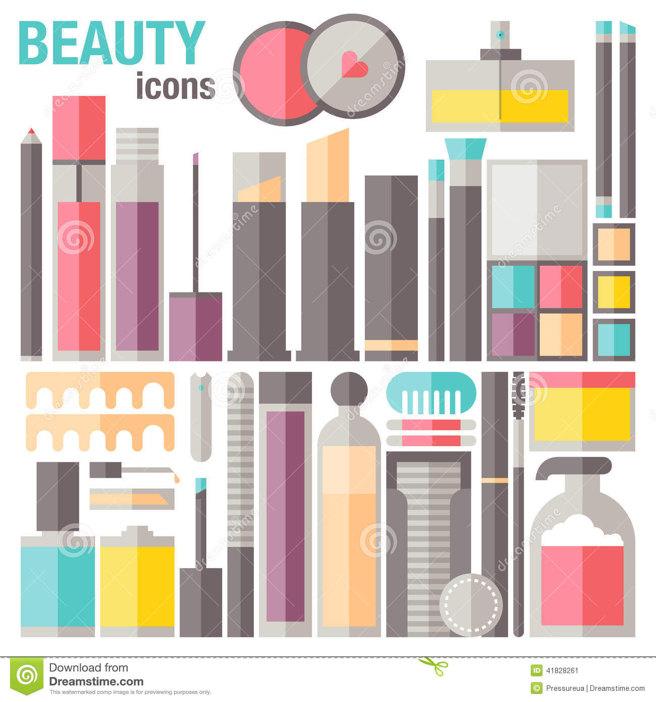 care beauty skin makeup flat icons clip cosmetic common professional accessories different object vector 1300 1390