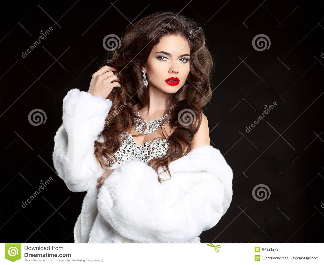 0de6e05f0f Long hair. Beautiful Woman in Luxury white mink Fur Coat. Fashion jewelry  accessories. Elegant lady isolated on black background.