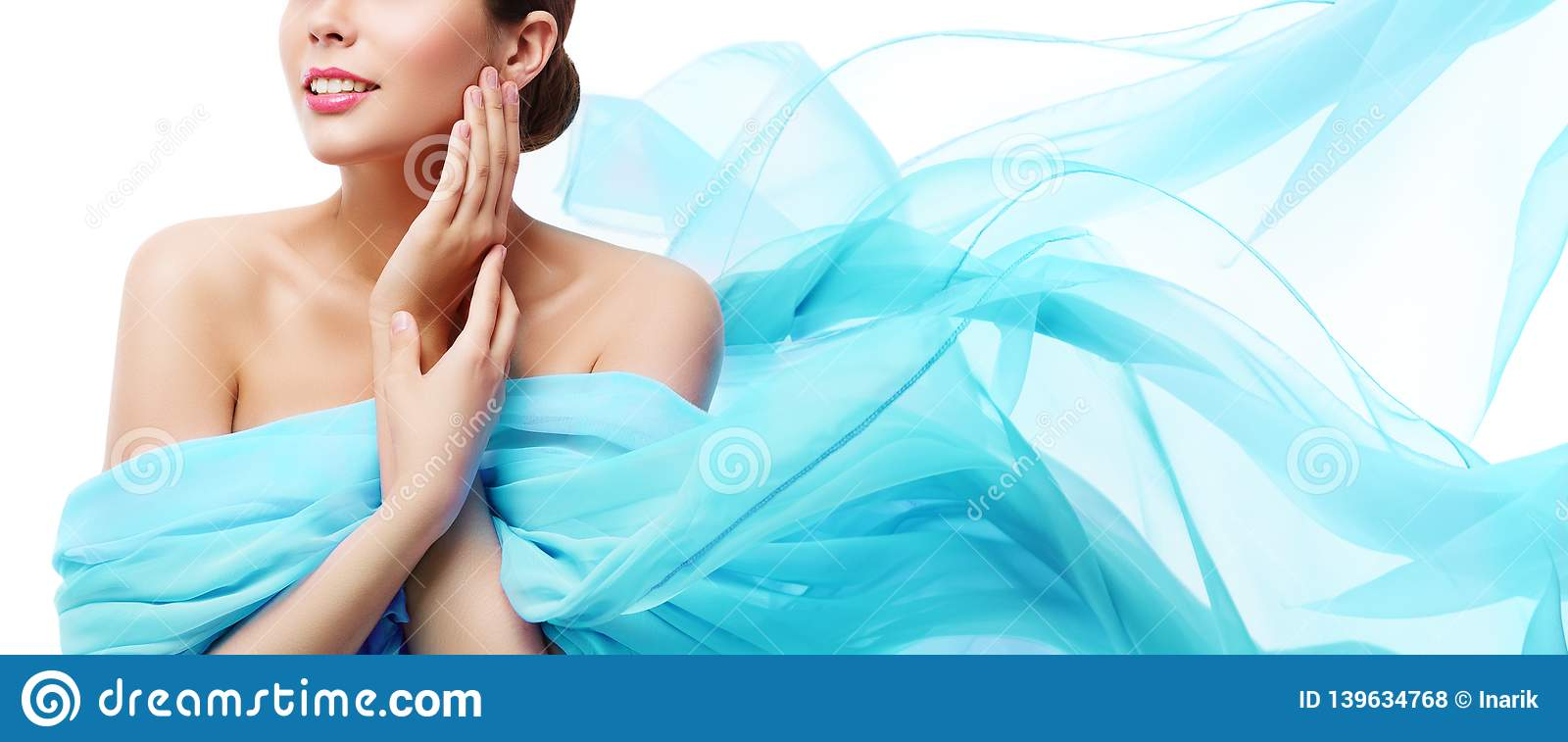 Beauty Makeup Skin Care, Woman Touching Face by Hand, Young Girl in Blue Waving Cloth