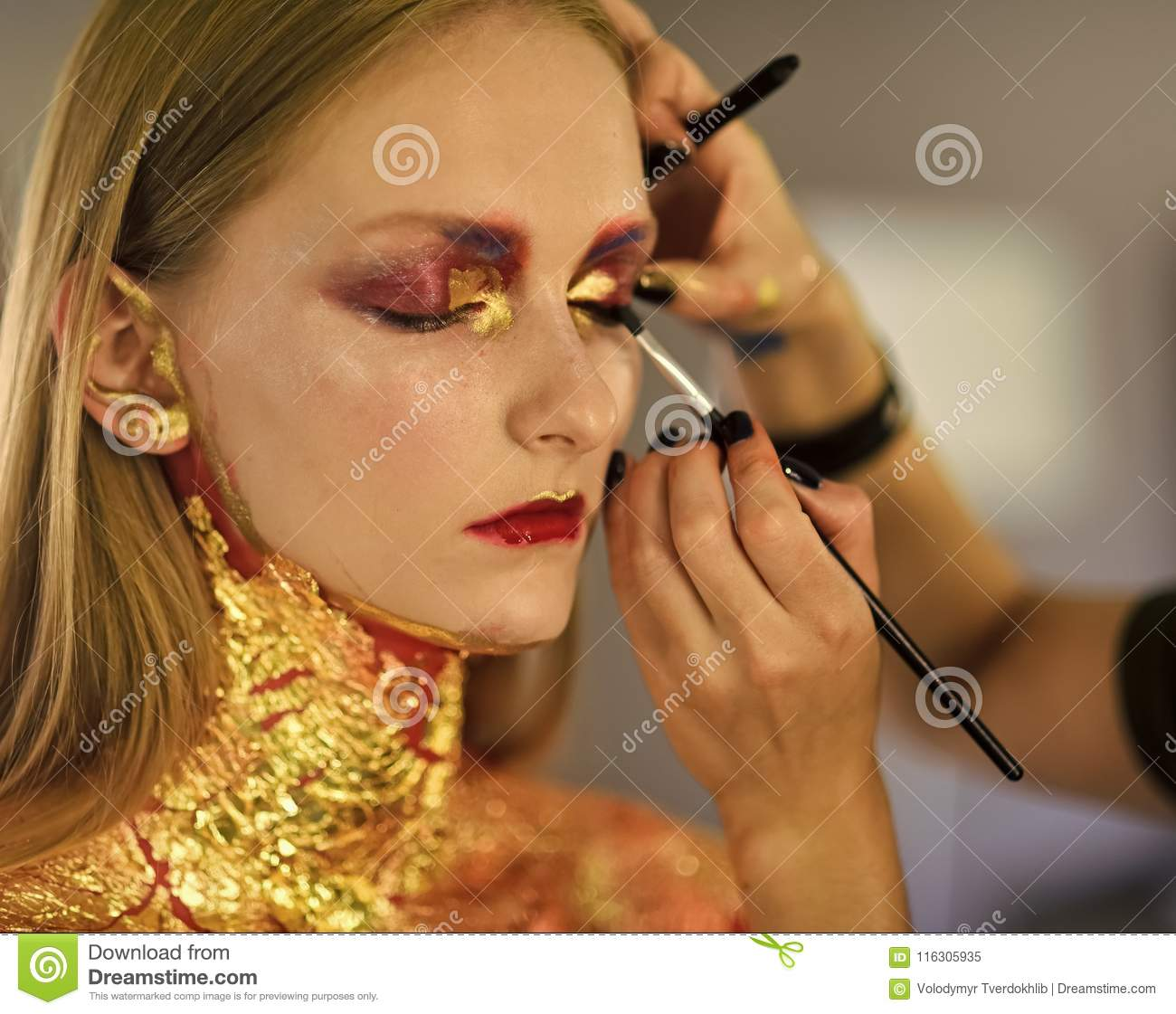 download beauty model getting art make up done visage stock image image of horror
