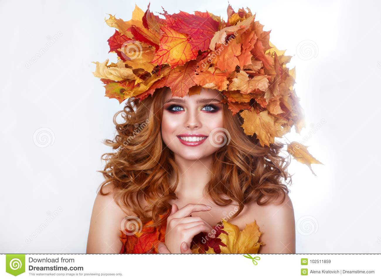Beauty Model Girl With Autumn Bright Leaves Hairstyle Beautiful