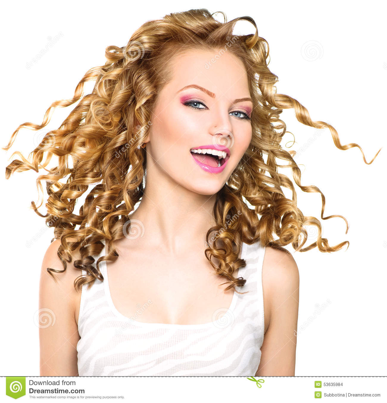 Beauty Model Girl With Blonde Curly Hair Stock Photo - Image: 53635984