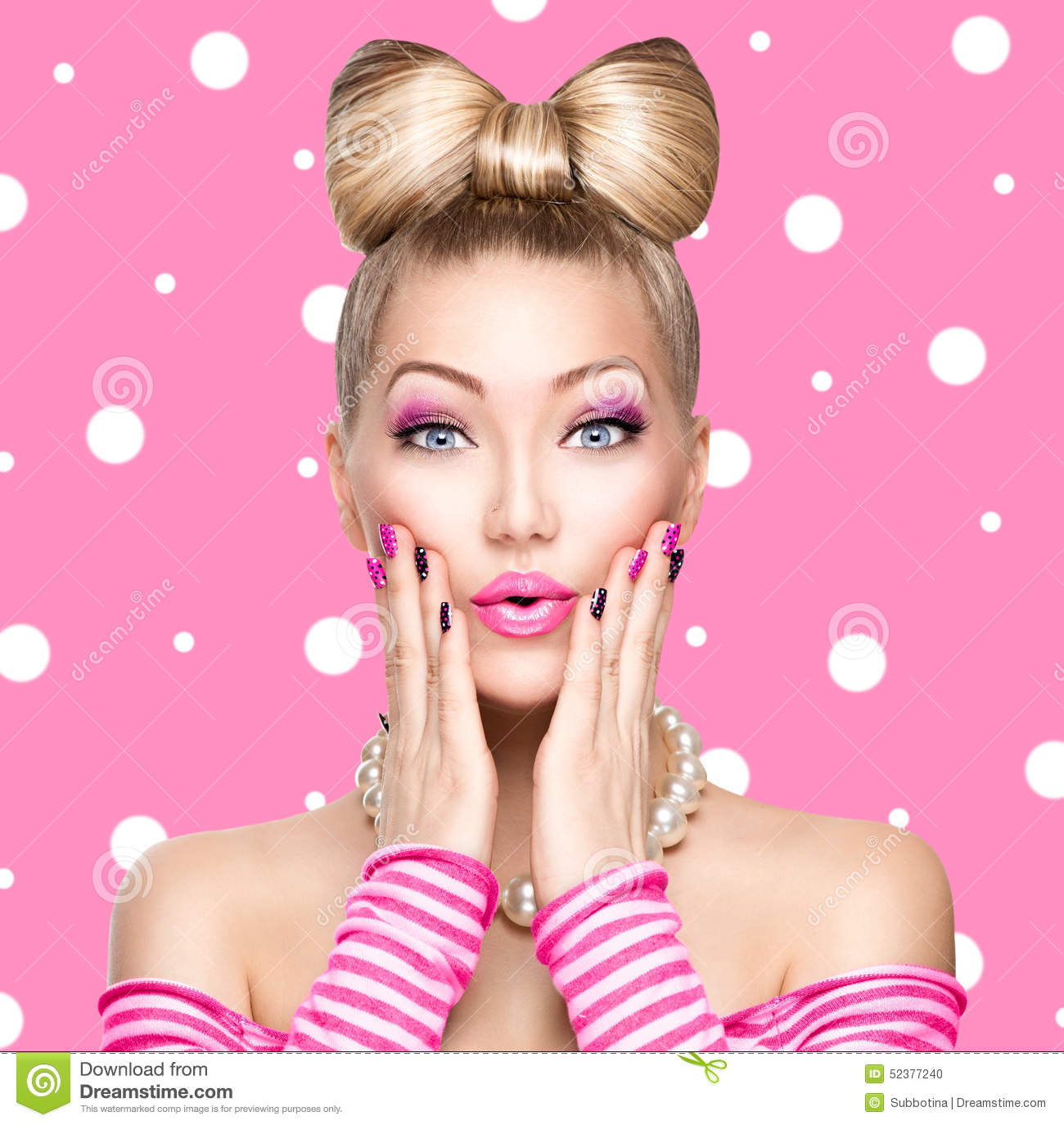 Beauty model girl with bow hairstyle