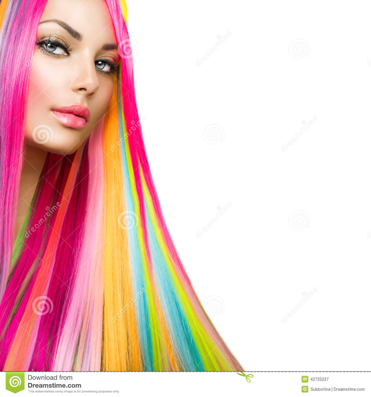 Beauty Model Girl with Colorful Hair and Makeup