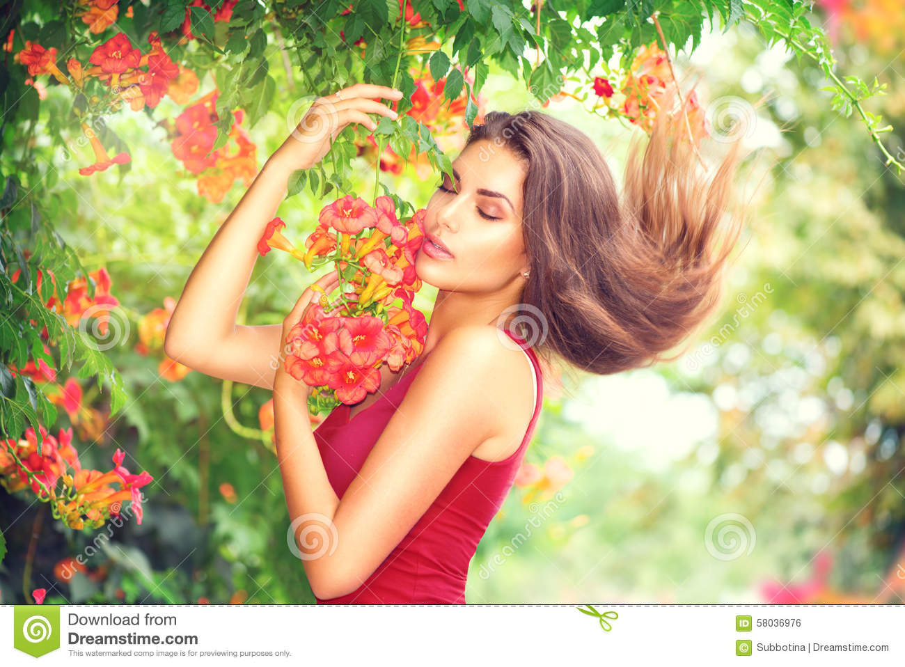 Beauty model girl enjoying nature