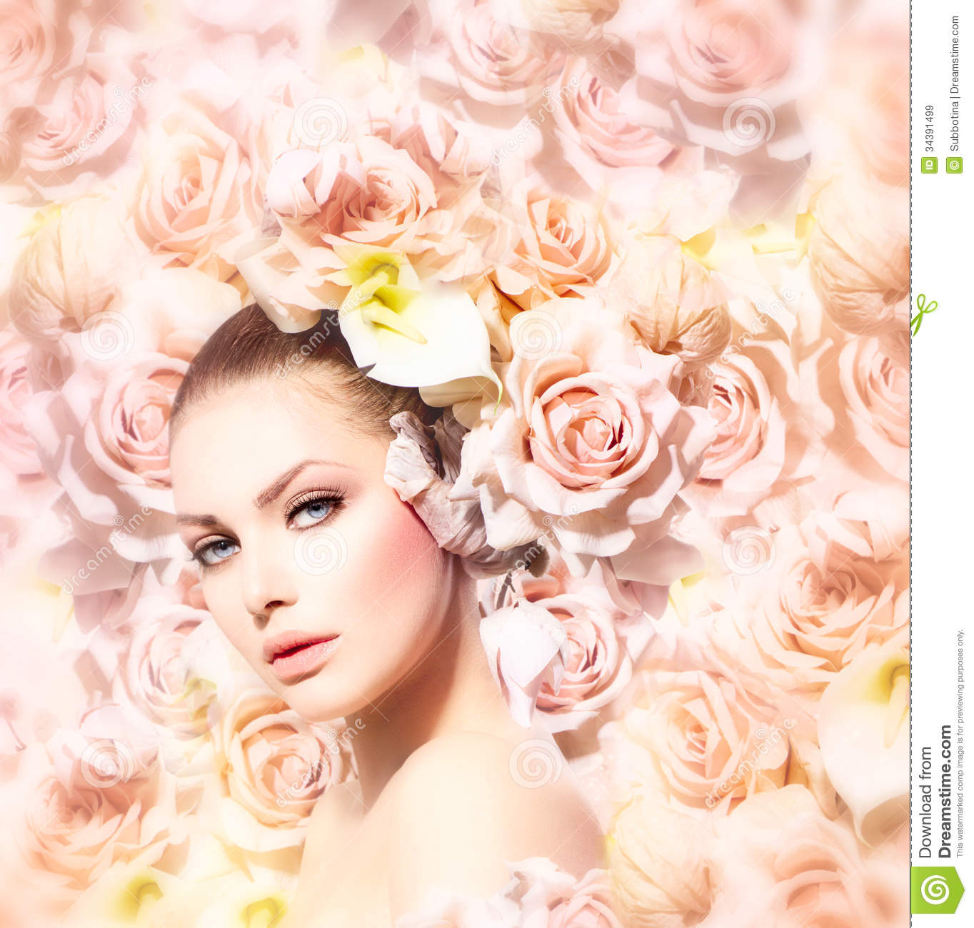 Beauty Model Girl With Flowers Stock Image