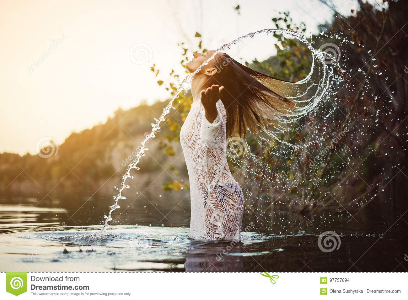 Download Beauty Model Girl Splashing Water With Her Hair. Teen Girl Swimming And Splashing On Summer Beach. Stock Photo - Image of breeze, beauty: 97757894