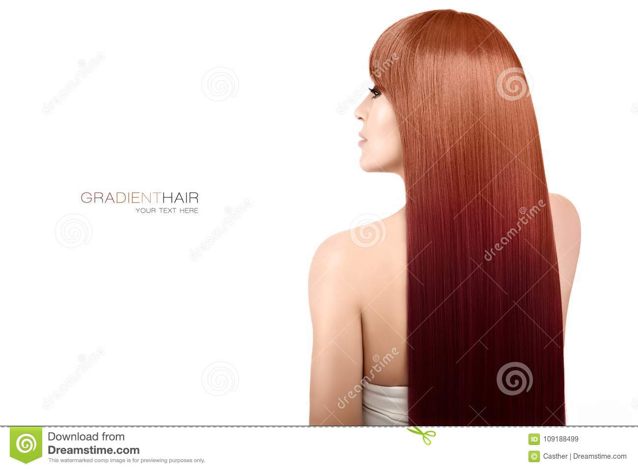 Beauty Model With Gorgeous Long Gradient Hair. Hair Coloring ...