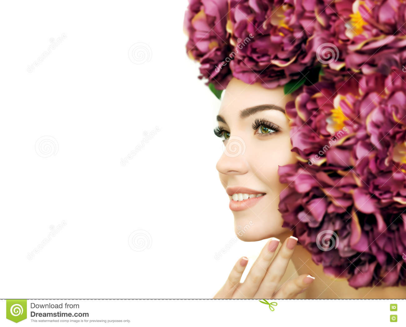 Beauty Model With Perfect Fresh Skin Long Eyelashes And Flowe Stock
