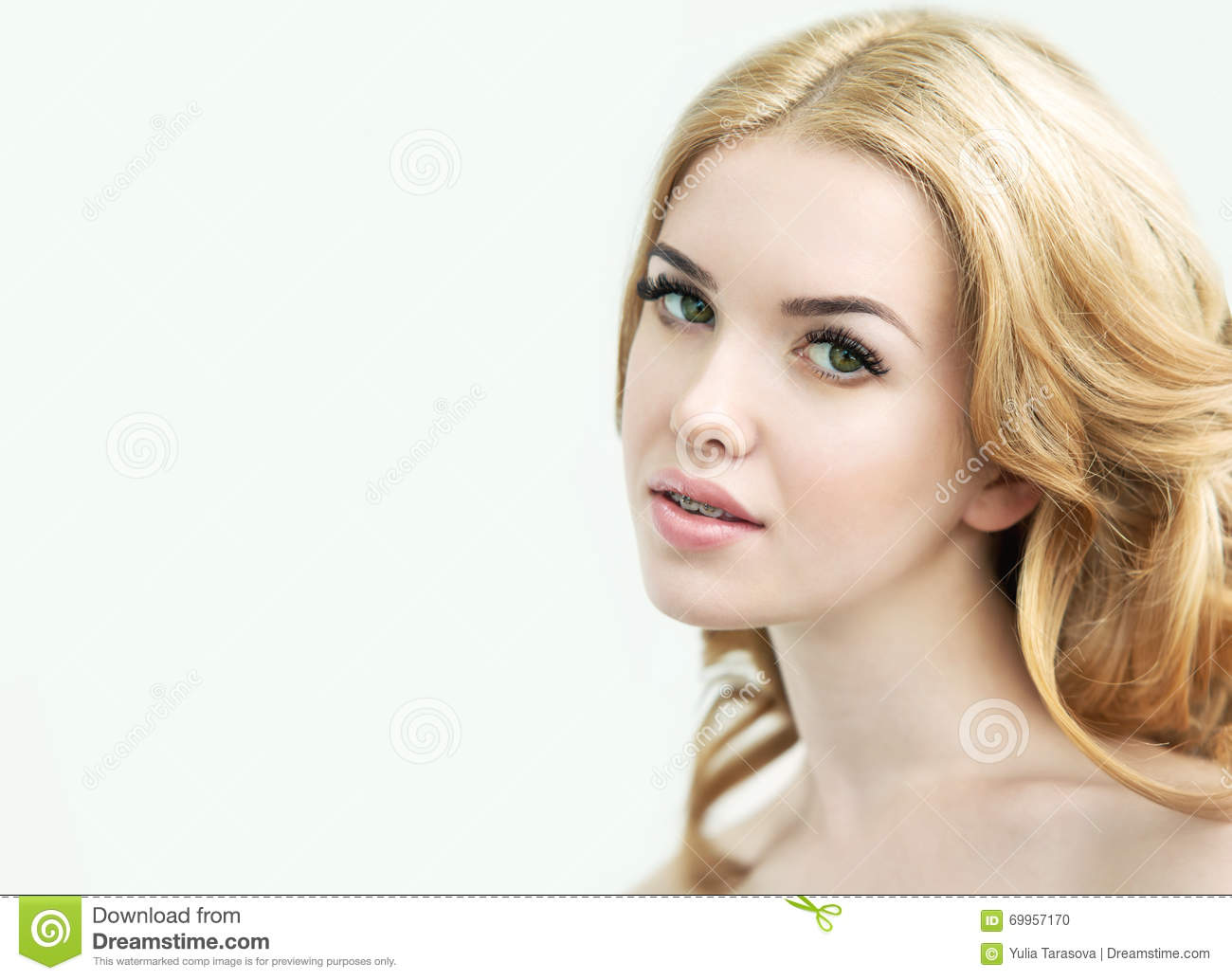 Beauty Model With Perfect Fresh Skin Long Eyelashes And Teeth Stock