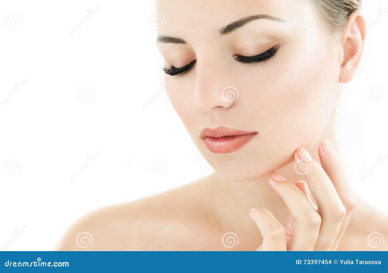 Beauty Model With Perfect Fresh Skin And Long Eyelashes Stock Photo