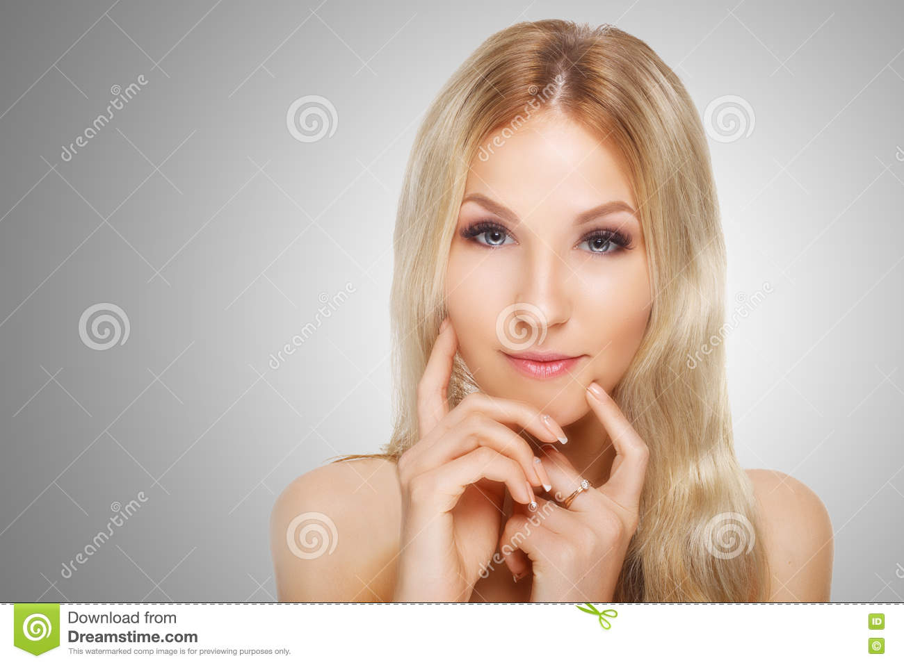 Beauty Model With Perfect Fresh Skin And Long Eyelashes Youth And