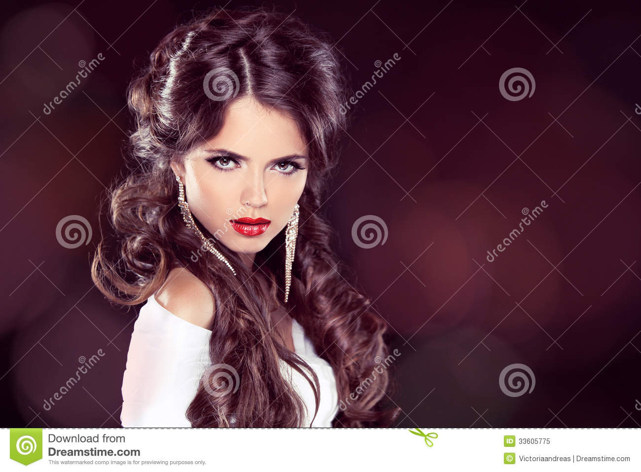 Beauty Model Woman with Professional Makeup. Hairstyle. Stylish