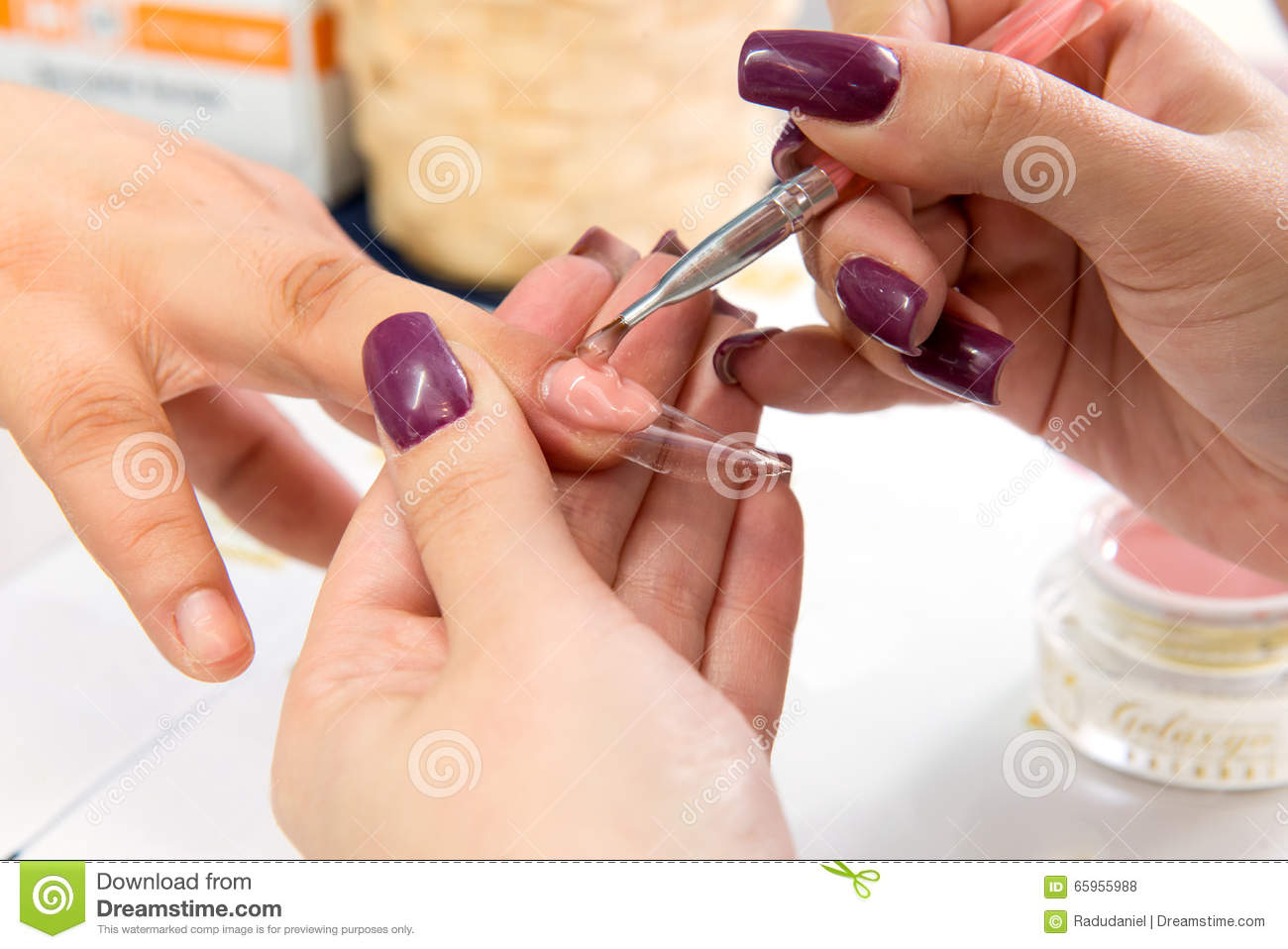 Beauty Nails Construction Whit Gel Stock Photo - Image of salon ...