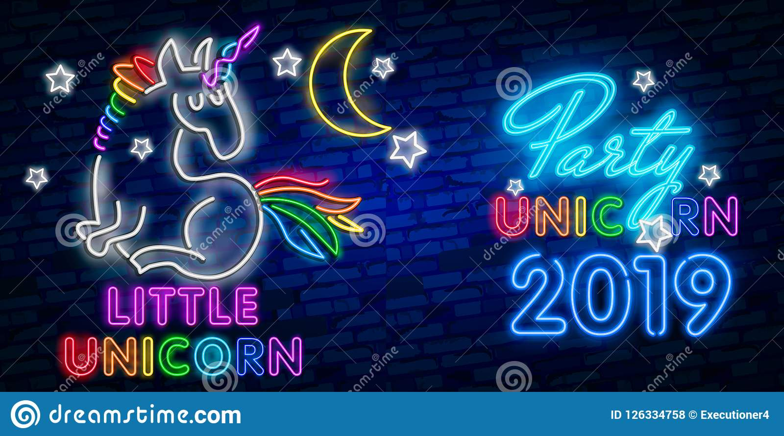 Beauty Neon Sign Of Unicorn  Neon Emblem, Bright Banner  Advertising