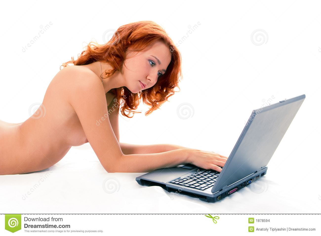 Simply nude girl with laptop
