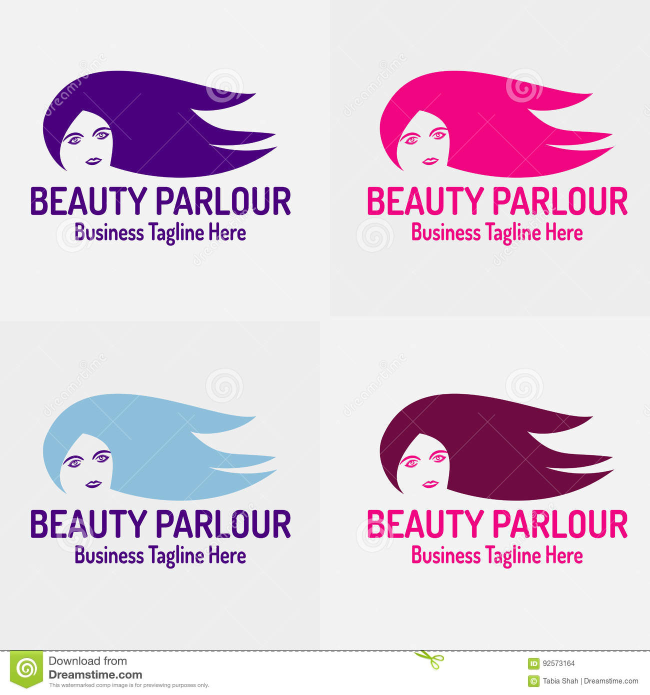 Beauty Parlor With Beautiful Girl Logo Vector Silhouette