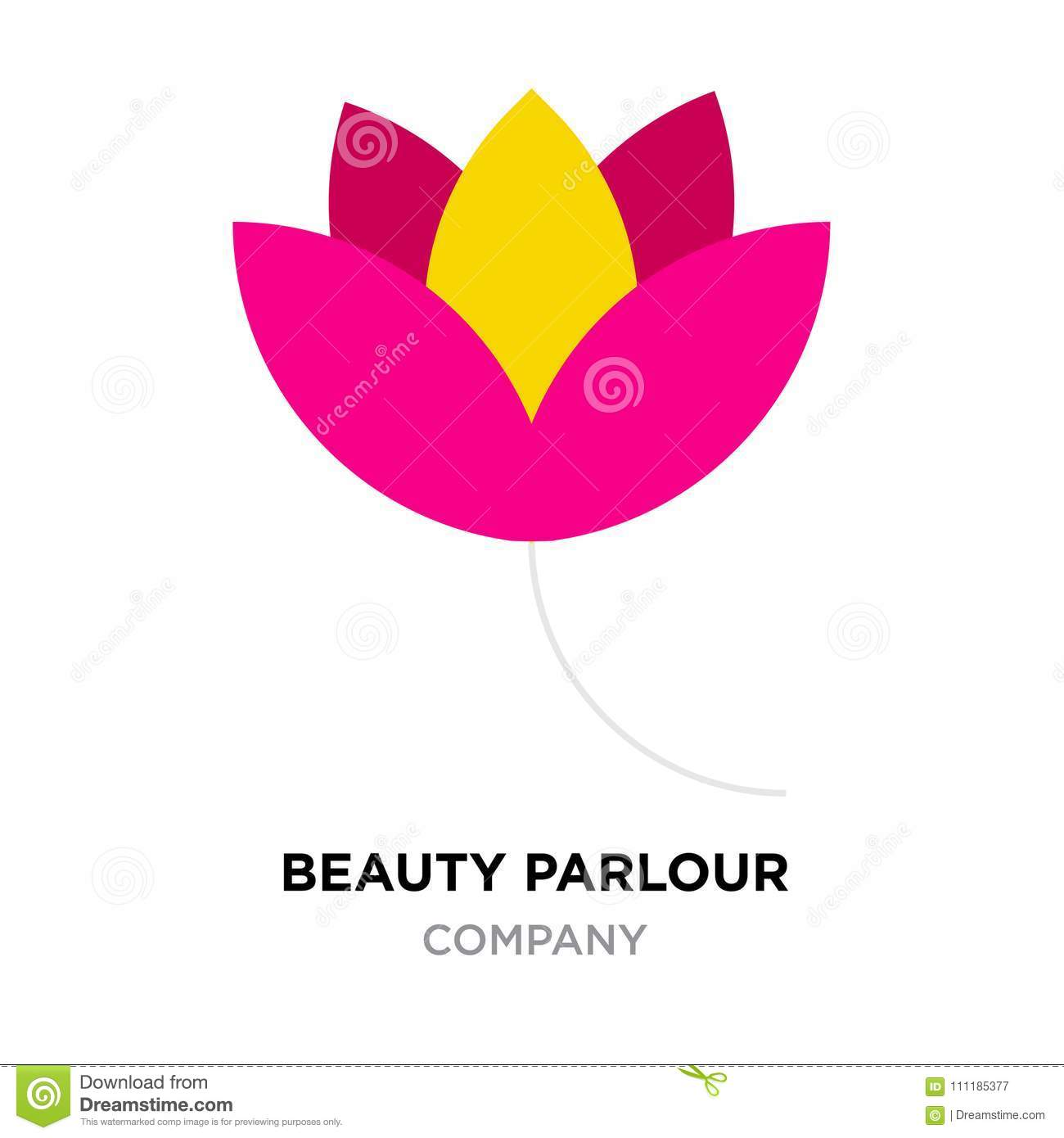 Beauty Parlour Logo For Company Red And Yellow Flower Ic Stock