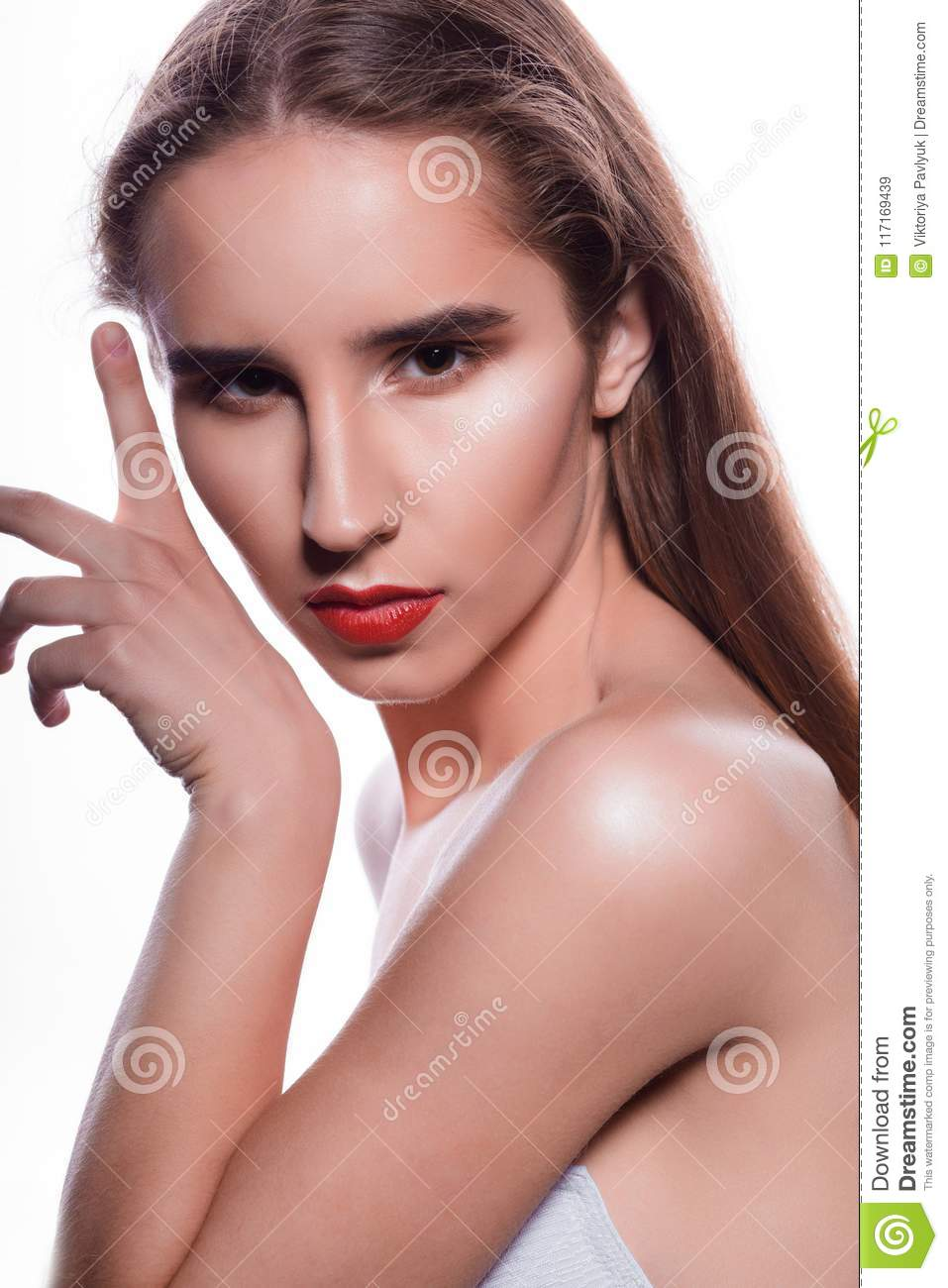 Beauty Portrait Of Amazing Brunette Woman With Red Lips And Nake