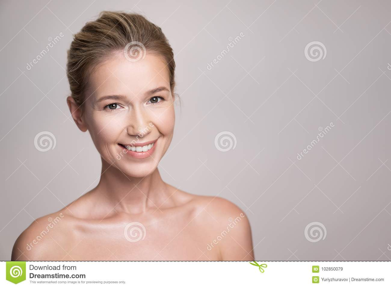 Beauty portrait of attractive middle age blonde woman