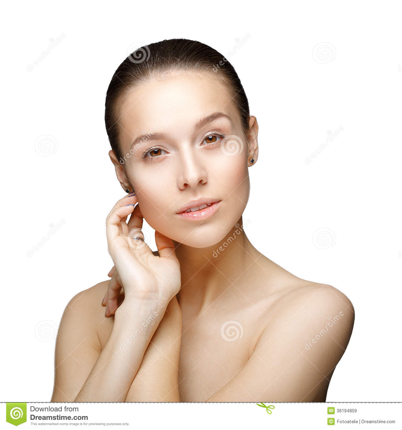 on White Background. Pure Beauty Model. Youth and Skin Care Concept