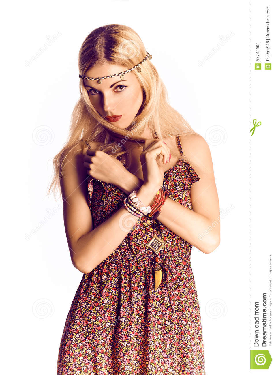 Beauty Portrait Of Boho Joyful Blonde Woman, Happy Stock