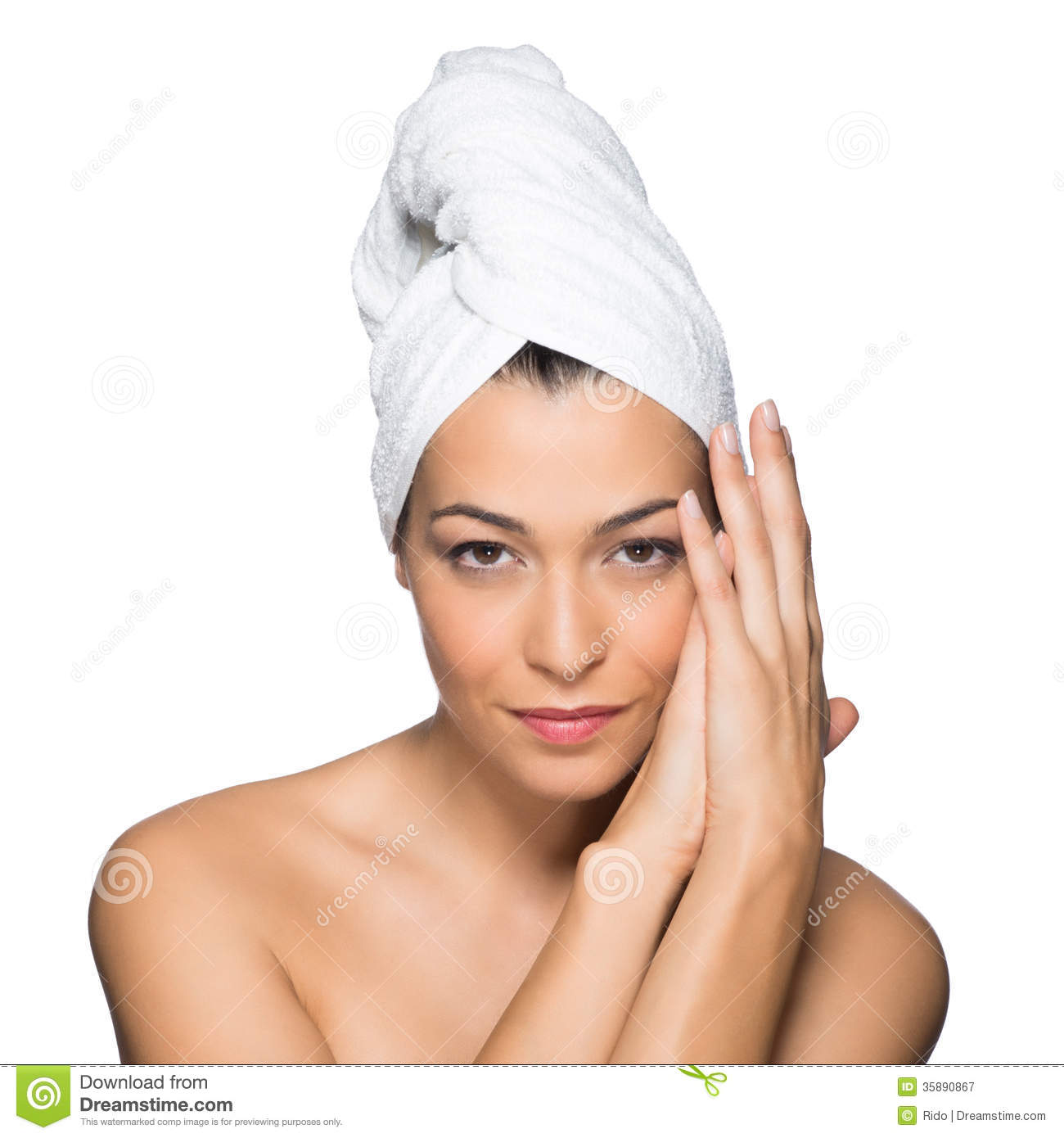 Beauty Portrait Of Smiling Woman With Towel On Head Isolated On White ...