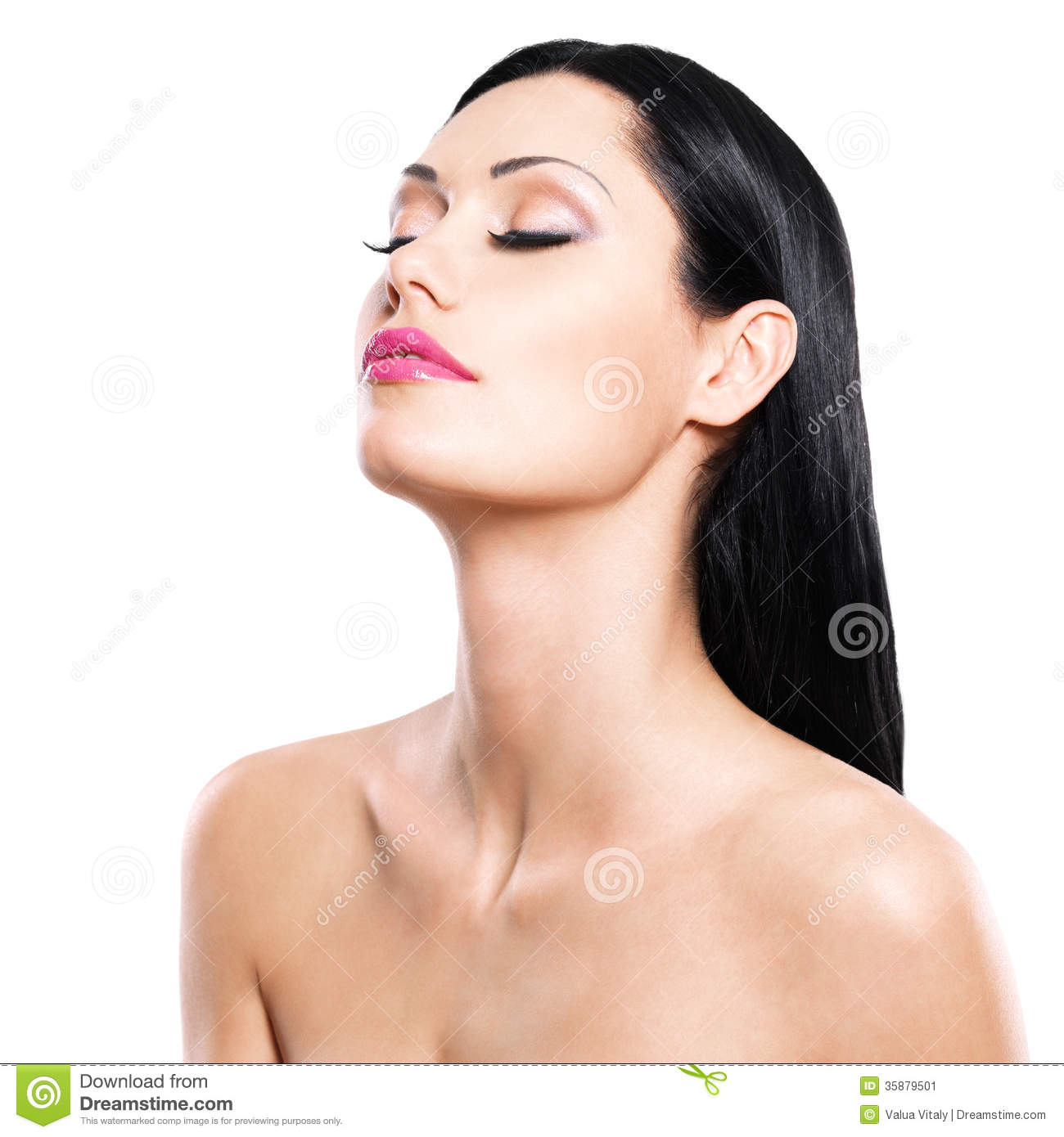 Beauty Portrait Of The Pretty Woman With Closed Eyes Stock ...
