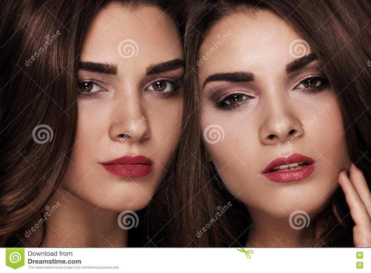 Beauty Portrait Of Sisters Twins. Stock Photo